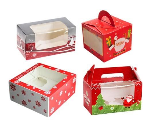 Collapsible Christmas Take Out Gift Boxes Offset Printing Environmental Friendly